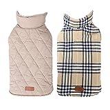 Cappottino impermeabile per cani, giacca calda imbottito Puffer gilet in pile plaid inverno cappotti per cani Pet Puppy entrambi i lati possono essere indossati