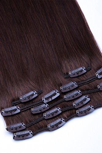 Clip In Extensions Set 100% Echthaar 7 teilig 70g Haarverlängerung 45cm Clip-In Hair Extension Nr. 4 Schokobraun