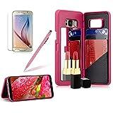 Girlyard Spiegel Hülle mit Brieftasche für Galaxy S8, Hart PC Schutzhülle Flip Case Standfunktion Kartenfach Klapphülle Anti-Kratzer für Samsung Galaxy S8 - Rose Rot
