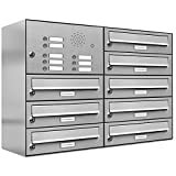 AL Briefkastensysteme 8er Briefkastenanlage mit Klingel, Edelstahl, Premium Briefkasten DIN A4, 8 Fach Postkasten modern Aufputz