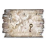 Kreative Feder Papierblume Designer Schlüsselbrett, Hakenleiste Landhaus Style, Shabby aus Holz 30x20cm, HSB052