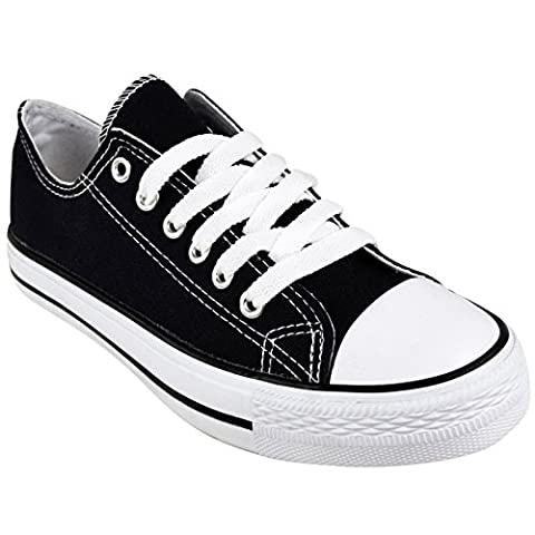 BRAND NEW LADIES WOMENS GIRLS CANVAS ® FLAT LACE UP PLIMSOLLS PUMPS TRAINERS SNEAKERS SHOES (UK 7 / EU 40 / US 9,