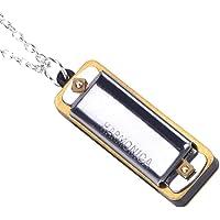 Drfeify Mini Harmonica C clé, Harmonica Collier Portable 4 Trous 8 Tons Jouet Enfants