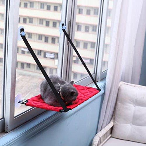 MUJING Cat Fenster Montiert Bett Sonnenschein Sitz Haustiere Hängematte Conservatory Barsch Kissen,Red,B (Katze Baum Barsch)