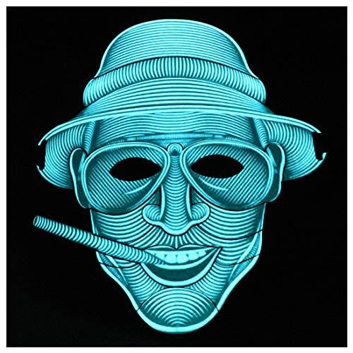 GRYY LED Maske leuchten Musik Maske Sound reaktiv beängstigend Coole Lichtmaske für Festival, Party, Halloween, Karneval, Tanzball, Maskeraden, Cosplay DJ Maske (Duke),Blue-OneSize