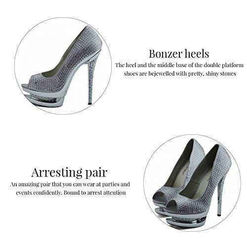 Trend Star Women Pumps Women's High Heels Platform Lace Party Pfennig new pumps Stil 1 - Elfenbein