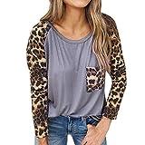 TianWlio Frauen Langarmshirt Bluse Hoodie Pullover Langarmshirt Kapuzenpullover Sweatshirt Herbst Mode Langarm Leopard Drucken Lässig Pullover Tops Lose Bluse Shirt