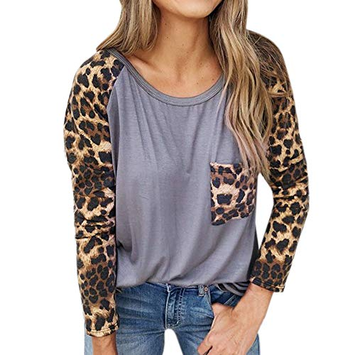 Damen Klassisch Jahrgang Stil Leopard Drucken Tops SHOBDW Frauen Herbst Mode Langarm mit Taschen O Ausschnitt Lose Shirts Bluse Tägliche Lässig Dünn Outwear Pullover