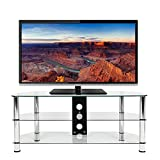 Mountright UMS4C Glass TV Stand 120 Centimeter Wide For 32 Up To 70 Inch LED LCD Plasma TVs