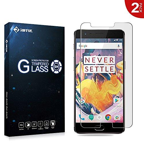 OnePlus 3T Protector de Pantalla, Riffue OnePlus 3T Cristal Vidrio Templado Glass Premium [9H Dureza] [3D Touch] [Alta Definicion] - Anti-Explosion / HD-display / Anti - agua y Anti-grasa / Anti-reflejo,[Alta Definición] 0.26mm Screen Protector Film para OnePlus 3T [2 Unidades]