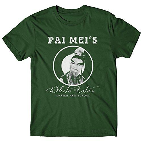 Pai Mei Kostüm - LaMAGLIERIA Herren-T-Shirt Pai Mei's Martial Arts School - 100% Baumwolle, L, grün