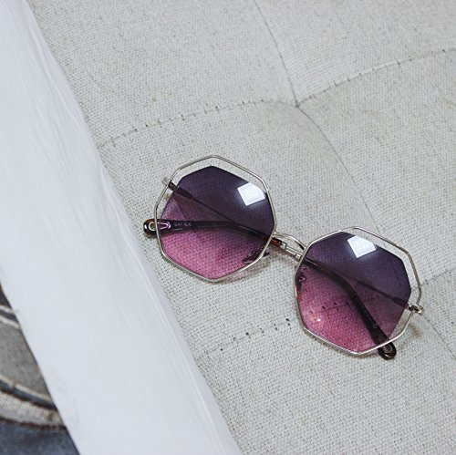 VVIIYJ Polygonale weibliche achteckige Sonnenbrille runden Gesicht Ebene große Rahmen Gradient Sonnenbrille Uv Schutz weibliche ,blaue Pulver
