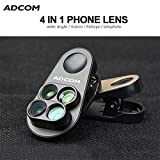 Adcom Professional 4 in 1 Mobile Phone Camera Lens Kit with 110 Degree