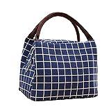 Borsa termica per il pranzo, alla moda, a quadri, piccola borsa termica per il pranzo, portatile e riutilizzabile, per donne xs Blue