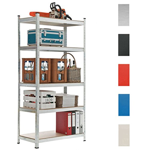 CLP Schwerlastregal, Metall, verzinkt, Tragkraft 875 kg, 5 Böden, Lagerregal Farbe + Höhe wählbar silber, 180 x 90 x 40 cm thumbnail