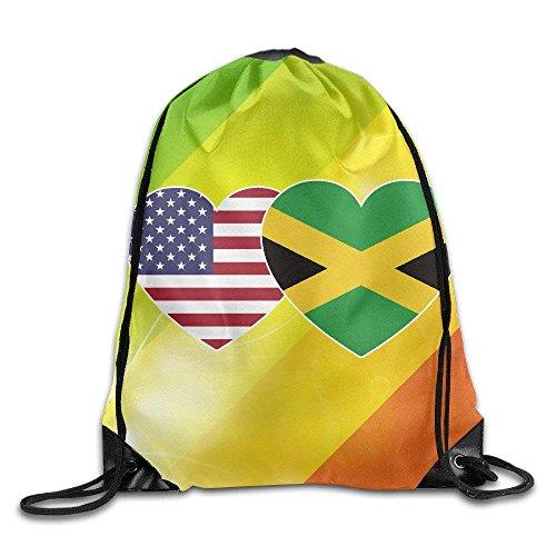 EELKKO Jamaica USA Flag Twin Heart Gym Drawstring Backpack Unisex Portable Sack Bag Twin Hearts Wild