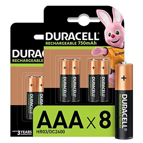 Oferta de Duracell - Pilas Recargables AAA 750 mAh, paquete de 8