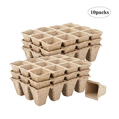 Housolution Pots Biodégradables, Pot de Semis avec 12 Compartiments (10 Pièces), Plateau pour Graines de Jardinage, Récipient de Germination - Kaki