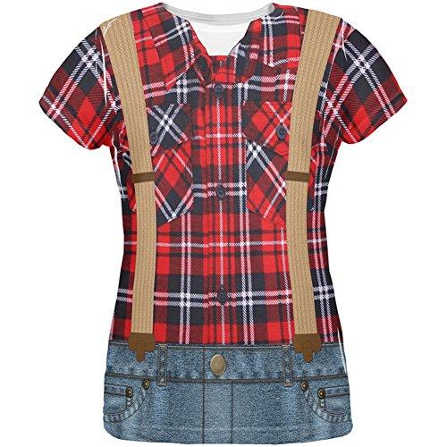 Kostüm Halloween Holzfäller über Damen-T-Shirt Multi (Kostüm Holzfäller Frauen)