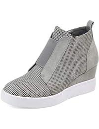 Botines Mujer Cuña Planos Invierno Planas Botas Tacon Casual Zapatos para Dama Plataforma 5cm Elegante Zapatillas Calzado Moda Negro Rosa Marrone Grigio 34-43