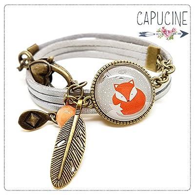 Bracelet argenté avec cabochon verre renard - Bracelet breloques bronze - Bracelet multi-rangs - Bracelet Renard roux en hiver