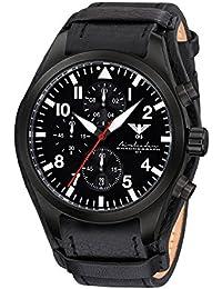 Airleader Black Steel Chronograph KHS.AIRBSC.R Edelstahl IP-beschichtet schwarz, Lederband G-Pad, KHS Tactical Watch, Einsatzuhr, Fliegeruhr