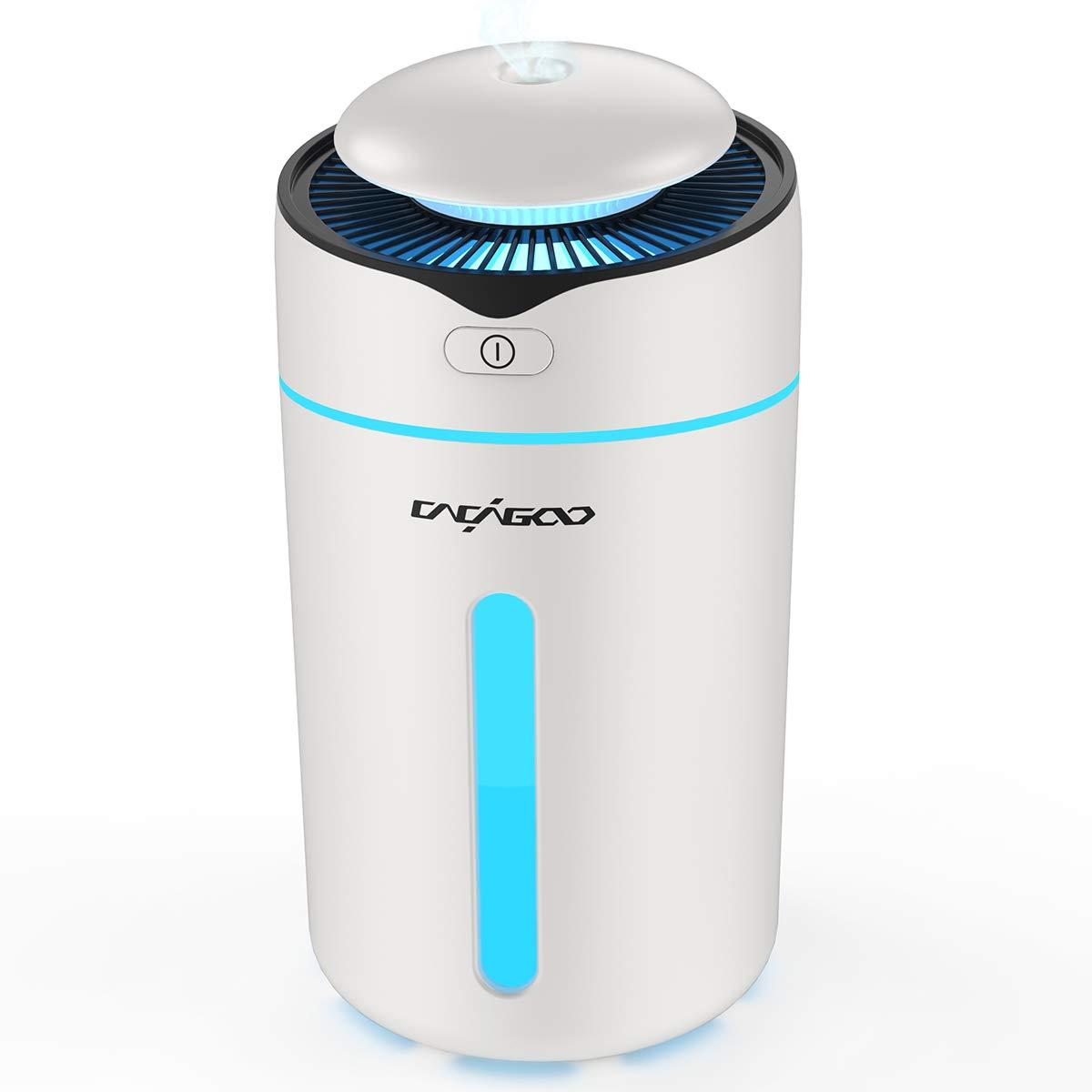 CACAGOO 300ml Mini Humidificador Bebes (Niebla de 2 Niveles, LED 7 Luces de Colores, Apagado Automático y fuente de Alimentación USB) Humidificador Ultrasónico Silencioso,Blanco