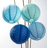 Umissdecor Papier-Laternen (20,3cm, mehrfarbig blau, 12-teiliges Set)–Reispapier, chinesische Hänge-Dekorationen–Für Zuhause, Partys und Hochzeiten
