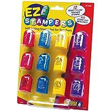 Educational Insights Ez Stampers - Juego de sellos de caucho con tinta incorporada para profesores