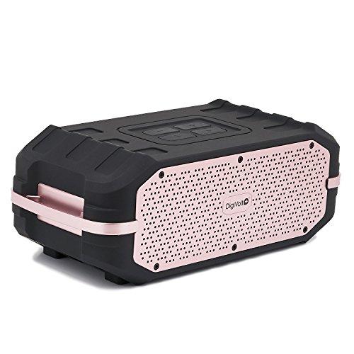 Reproductor DigiVolt HIFI-34 by MovilCom   altavoz bluetooth estéro con radio FM MP3 USB resistente a salpicaduras Negro-rosa