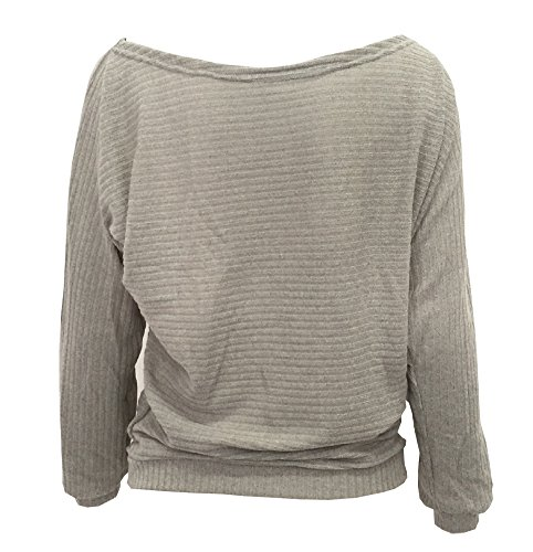 LaoZan Damen Volltonfarbe U boot Ausschnitt Pullover Fledermausärmel Loose Blusen Tops Sweatshirt Grau