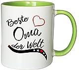 Mister Merchandise Kaffeebecher Tasse Beste Oma der Welt Schwanger Baby Muttertag Geschenk Danke Teetasse Becher Weiß-Grün