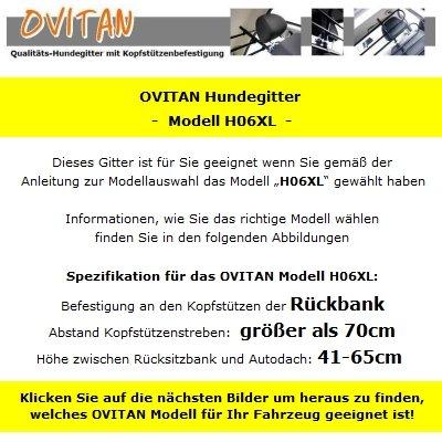 OVITAN Hundegitter XL fürs Auto 6 Streben universal zur Befestigung an den Kopfstützen der Rücksitzbank – für alle Automarken geeignet – Modell: H06XL - 3