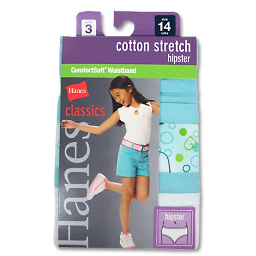 Hanes GNCS40 Classics Girls Cotton Stretch Hipster With Comfortsoft Waistband Size 4, Assorted