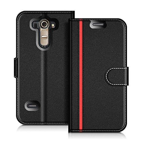 COODIO Handyhülle für LG G4 Handy Hülle, LG G4 Hülle Leder Handytasche für LG G4 Klapphülle Tasche, Schwarz/Rot