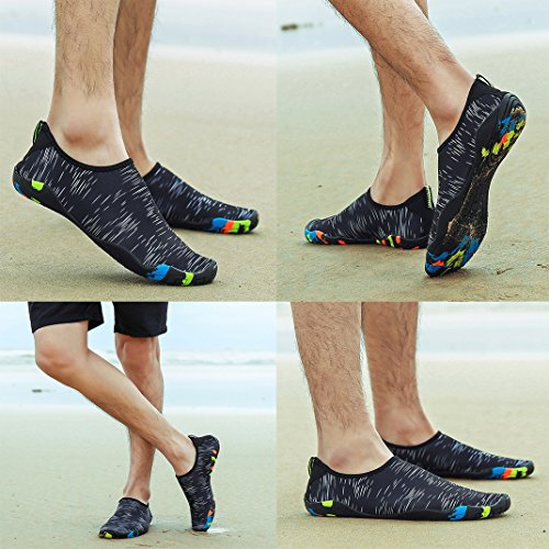 Ahatech Strandschuhe Damen Herren trockenen Schnell Wasserschuhe Aquaschuhe Barfuß Schuhe Schwimmschuhe mit Rutschfeste Sohlen Surfschuhe Gehen,Yoga,See,Strand,Fahren Schwarz