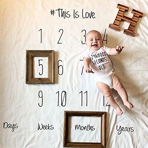 Milestone Decke für Neugeborene, Baby Geburtstag Fotografie Foto Requisiten Wickeldecke, Baby Monatliche Milestone Fotografie Requisiten Shoots Hintergrund Tuch 100 x 100 cm (Set B :Number+Date)
