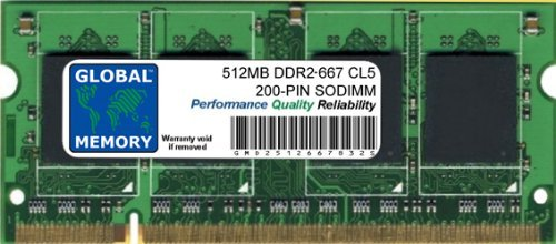 667mhz Ddr2 512mb Sodimm Notebook (GLOBAL MEMORY 512MB DDR2 667MHz PC2-5300 200-PIN SODIMM ARBEITSSPEICHER RAM FÜR NOTEBOOKS)