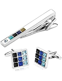Gnzoe Stainless Steel Cufflink And Tie Clip Set In Gift Box Personalized Mens Cufflink Gift Set