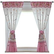 TupTam Kinderzimmer Vorhänge Set Mit Zierband Und Stern, Farbe: Eulen Rosa,  Größe: