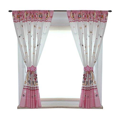 TupTam Kinderzimmer Vorhänge Set mit Zierband und Stern, Farbe: Eulen Rosa, Größe: ca. 155x155 cm (Zebra Tier Vorhang-set)