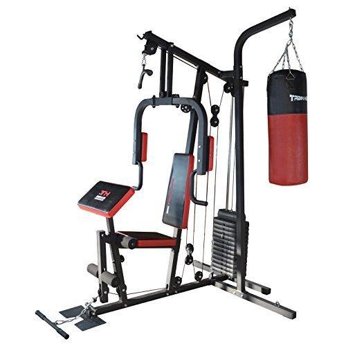 TrainHard HomeGym Multistation Fitnesscenter mit 65KG Gewichten inkl. Boxsackhalterung & Boxsack 80cm