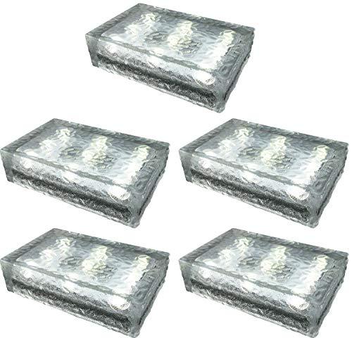 5 pezzi FUCHS Mattonella Solare LED Vetro bianco caldo 23x15x6 cm - per l\'illuminazione del percorso (antiscivolo)