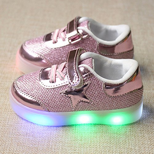 Highdas Jungen Mädchen Aufhellen Leder Anti Slip Light Up Schuhe Pink