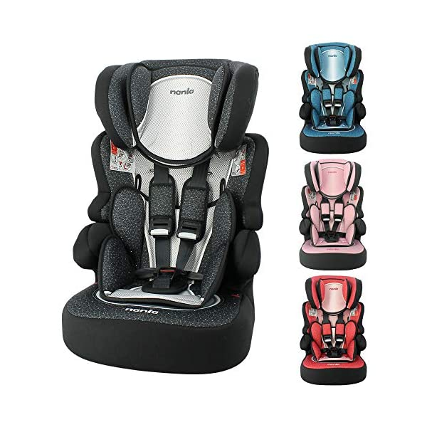Child car seat Beline Grp 1/2/3 (9-36kg) with side protection - Nania Skyline black nania Booster seat with group 1/2/3 harness for children between 9 and 36 kg. The BELINE group 1/2/3 car seat is approved according to ECE R44/04 and is manufactured and tested in France. Beline car seat to transport your child in the car in complete safety. The car seat can only be installed facing the road in the back seat of the car. The car seat is secured with the 3-point seat belt and the child is secured with the 5-point harness. 1
