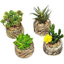 Conjunto surtido de mini plantas carnosas artificiales en maceta de piedra con guijarros, 4 unidades, color verde
