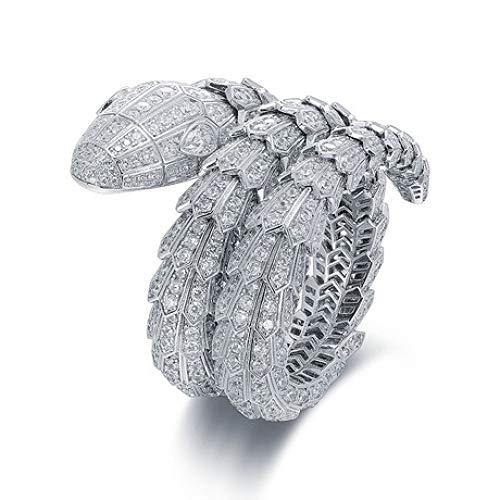 ChuangYing Europäische und amerikanische Persönlichkeit übertriebenes Armband voller Diamant DREI Ring Schlange Armband (Rose Gold-diamant-opal-ring)