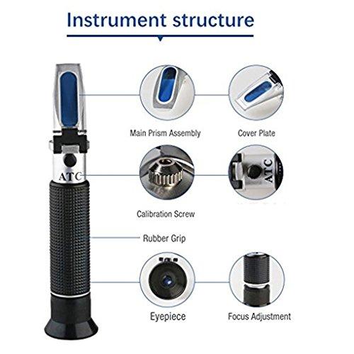 Providethebest Handheld miele Rifrattometro tester 58-90% Brix 38-43 Baume 10-33% Acqua ATC compensazione della temperatura per Apicoltore