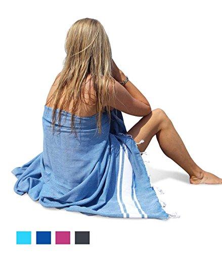 ZusenZomer Hamamtuch groß SOL 100x200 Petrol Blau - Hamam Badetuch Strandtuch Saunatuch XXL 100% Baumwolle Handgewebt - Hammam Tücher Exklusives Design