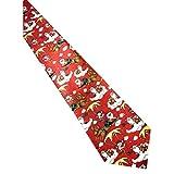 UJUNAOR Handgenähte Weihnachts Krawatte - in verschiedenen Farben - Motiv Weihnachtsmann - Christmas Krawatte(D 1)